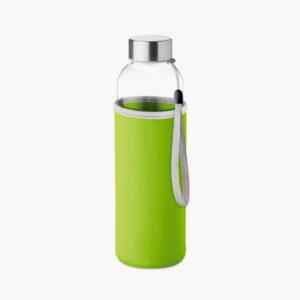 botella-cristal-funda-shoftshell-verde-lima