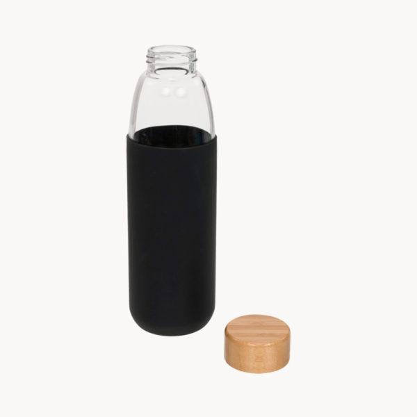botella-cristal-tapon-bambu-funda-negro-detalle